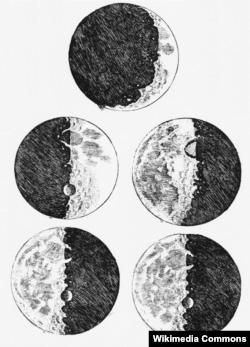 Рисунки фаз Луны из рабочей тетради Галилея