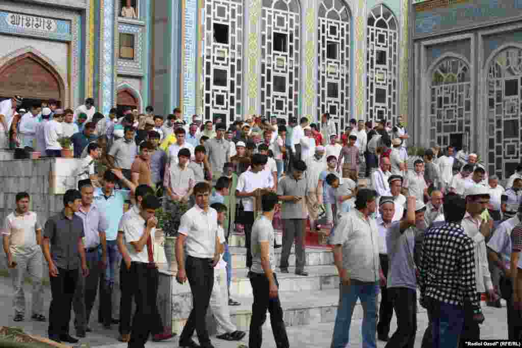 People gather for prayers at a mosque in the Tajik capital, Dushanbe.