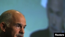 Greece -- Prime Minister George Papandreou delivers a speech during an economic conference in Athens, 28Apr2010
