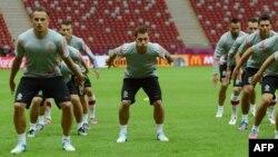 Тренинг на стадионот во Варшава.