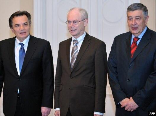 Herman Van Rompuy sa članovima Predsjedništva BiH Harisom Silajdžićem i Nebojšom Radmanovićem, Sarajevo, 20. oktobar 2010