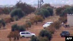 Автомобили сирийской армии в провинции Хама.