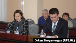 Представители компании «Казахтелеком», которая проходит по делу Матаевых в качестве потерпевшей стороны. Астана, 9 декабря 2016 года.