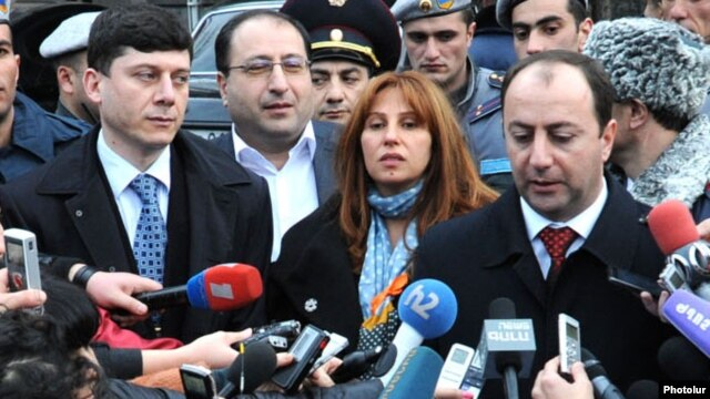Raffi Hovannisian talks to reporters after lodging an appeal with the Constitutional Court to annul the official results of the February 18 presidential election.