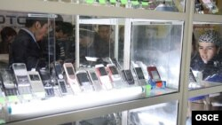 Mobile phones on sale in a Dushanbe department store.