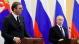 RUSSIA -- Russian President Vladimir Putin and Serbian President Aleksandar Vucic attend a press conference in Sochi, December 4, 2019
