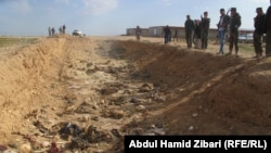 Remains of about 27 other Yazidis were found in a bloodstained pit in the Sinjar area, further south, on February 1.