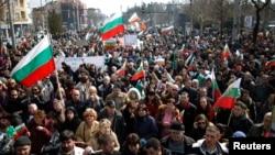 Массовая акция протеста в Софии, 3 марта 2013 года.