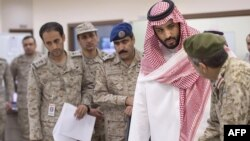 "Saudi Defense Minister Mohammed bin Salman (second from right) said, ""We will fight every terrorist organization, not only the Islamic State."" (file photo)"