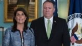 U.S. Ambassador to the United Nation Nikki Haley (left) with U.S. Secretary of State Mike Pompeo in attendance announced her country's decision to withdraw from the UN Human Rights Council on June 19.