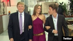 Donald Trump (left) was recorded making the comments to TV host Billy Bush (right) while preparing for an appearance on the soap opera Days of Our Lives with actress Arianne Zucker (center)