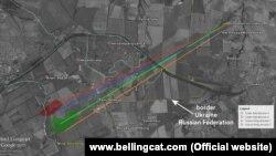 Траєкторії від вогневих позицій на території Росії (північ від селища Платово з позиції Гуково) з яких відбувався артилерійський обстріл української території (дослідження Bellingcat)