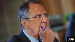 Russian Foreign Minister Sergei Lavrov at the G8 foreign ministers meeting in Washington on April 11