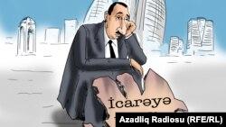 """""""Azərbaycan icarəyə verilir"""". Karikatura. Gündüz Ağayev."""
