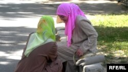 Women in Tajikistan wearing hijabs