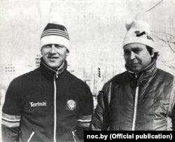 Беларускі канькабежац Ігар Жалязоўскі і ягоны першы трэнэр Мікалай Гапеенка