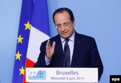 Президент Франції Франсуа Олланд під час брифінгу на саміті «Групи семи», у штаб-квартирі Ради ЄС в Брюсселі, 4 червня 2014 року.