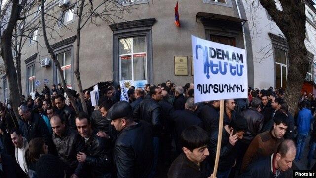 Armenia - Workers of the Metsamor nuclear plant demonstrate against pension reform in Yerevan, 18Feb2014.