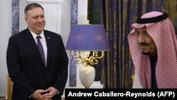 U.S. Secretary of State Mike Pompeo meets with Saudi King Salman bin Abdulaziz at the Royal Court in Riyadh, February 20, 2020