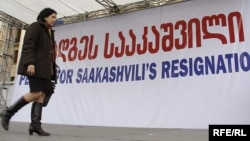 Саломе Зурабишвили активно участвовала в оппозиционных митингах с требованием отставки Саакашвили