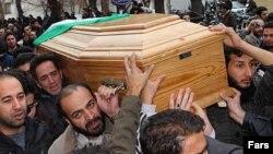 تشییع پیکر محمد مختاری به عنوان بسیجی کشته شده در اعتراضها