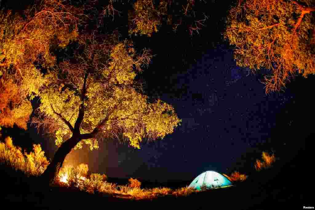 """Млечный Путь виден на небе ночью в нацпарке """"Алтын-Эмель""""."""