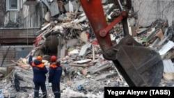 Разрушенный в результате взрыва газа дом в Ижевске