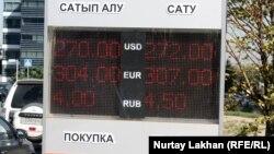 Ақша айырбастау орнындағы валюта бағамы жазылған табло. Алматы, 17 қыркүйек 2015 жыл.