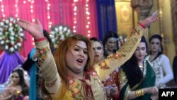 FILE: Transgender people in Pakistan -- locally known as Khusra or Heejra -- claim to be cultural heirs of the eunuchs who served as senior courtiers to the Indian subcontinent's Mughal rulers in the 17th and 18th centuries.
