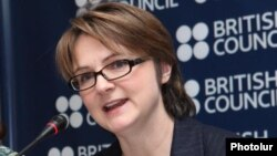Armenia - British Ambassador Katherine Leach at a press conference in Yerevan, 30Jan2012.