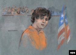 Джохар Царнаев в зале суда