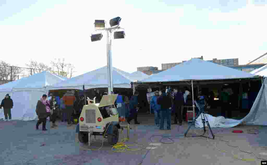 A polling site is located in a tent in the Rockaways, New York, as the area struggles to recover from the damage caused by superstorm Sandy.