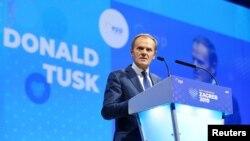 Президент Совета Европы Дональд Туск выступает на конгрессе Европейской народной партии. Загреб, 20 ноября 2019 г.