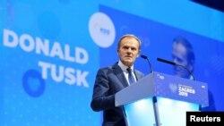 Noul președinte al PPE, Donald Tusk, vorbind la summitul de la Zagreb