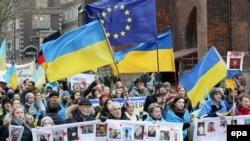 Skupovi podrške Ukrajini u Hamburgu, 22.2.2014.