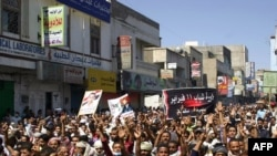 Antigovernment protesters rally in Taiz on April 5.