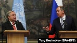 ՄԱԿ- ի գլխավոր քարտուղար Անտոնիո Գուտերեշի և ՌԴ արգործնախարար Սերգեյ Լավրովի համատեղ ասուլիսը, Մոսկվա, 21-ը հունիսի, 2018 թ․