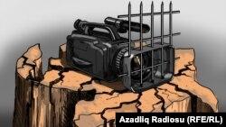"""Қамаудағы камера"". Гүндүз Ағаевтың карикатурасы. Әзербайжан."