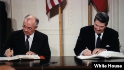 U.S. President Ronald Reagan and Soviet leader Mikhail Gorbachev signing the Intermediate-Range Nuclear Forces Treaty in the Washington in 1987.