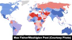 Чырвоны колер — найбольш «дэпрэсіўныя» краіны, блакітны — менш дэпрэсіўныя