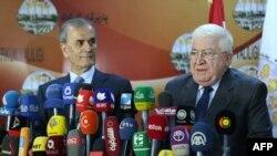 رئيس الجمهورية فؤاد معصوم ومحافظ كركوك نجم الدين عمر في 3, آذار 2015