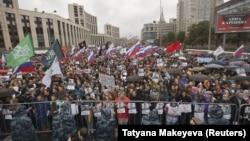 Протестът в Москва в събота е най-големият в последните години.