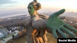 A fake image depicting Volgograd's towering Motherland statue doused in green has some seeing red.