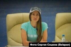 Дар'я Домрачава на прэс-канфэрэнцыі