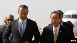 ملادينوف وبان كي مون خلال زيارة الأخير للعراق - 24 تموز 2014