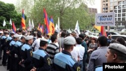 Armenia - Schoolteachers protest against pension reform outside the Ministry of Education, Yerevan, 29Apr2014.