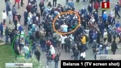 Скрын зь вечаровага эфіру БТ 31 траўня. У аранжавым коле — цэнтар патасоўкі, у зялёным — Ірына Федарэнка зь Сяргеем Калмыковым, якога затрымалі разам зь Сяргем Ціханосўкім