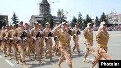 Armenia - Russian troops march in a military parade in Gyumri marking the 69th anniversary of the Soviet victory in World War Two, 9May2014.