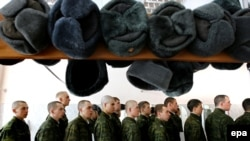 Soldiers of the 5th Brigade line up during training near the town of Narofominsk in February 2010.