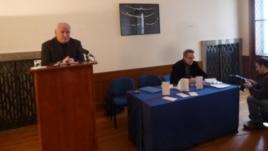 Velimir Visković govori na skupu u Zagrebu, 14. prosinac 2012.